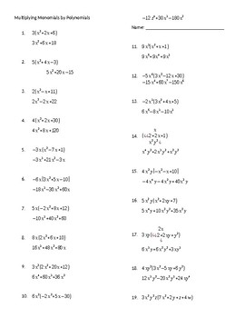 Multiplying Monomials by Polynomials Practice Worksheet