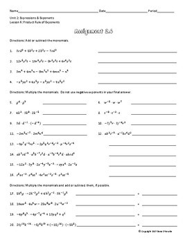 Multiplying Monomials with the Product Rule Guided Notes & Assignment