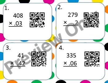 Multiplying Multi-Digit Numbers including Decimals With QR Codes 5.NBT.5