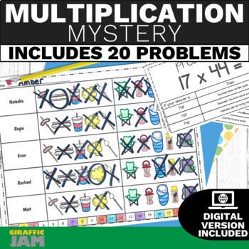 Multiplying Multi Digit Numbers 5th Grade Math Activity w/ Answer Key