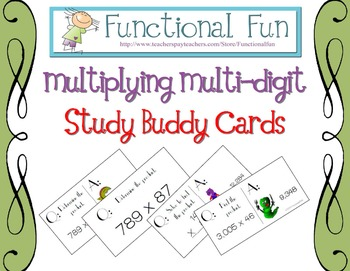 Multiplying Multi-Digit Numbers Study Buddy Cards