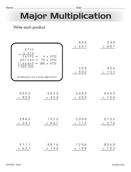 Multiplying Multi-Digit Whole Numbers (CCSS 5.NBT.B.5)
