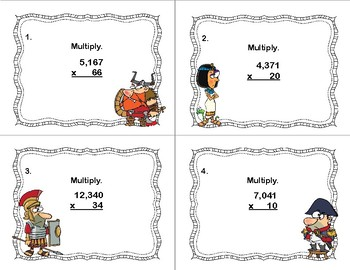 Multiplying Multi-Digit Whole Numbers -Grades 5-6-40 Task Cards-Famous People