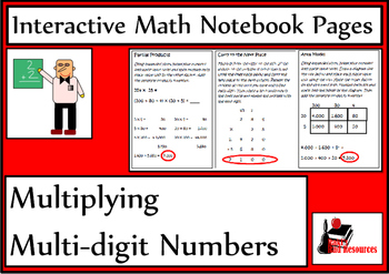 Multiplying Multi-digit Numbers Lesson for Interactive Math Notebooks