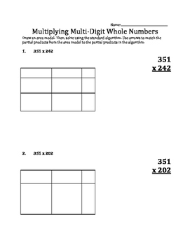 Multiplying Multi-digit Whole Numbers using Area Models 2
