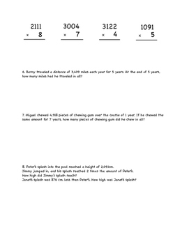Multiplying Multiple Digit Multiplication up to 4 x 1