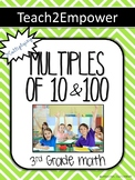 Multiplying Multiples of 10 & 100 (pre/post tests, reference sheets, task cards)