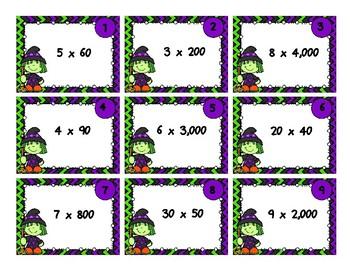Multiplying Multiples of 10 Task Cards - Halloween Theme