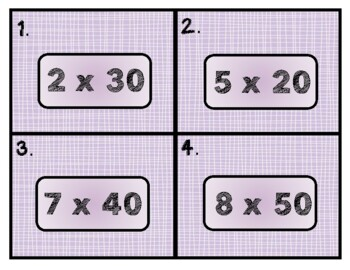 Multiplying Multiples of 10 Task Cards and Activities