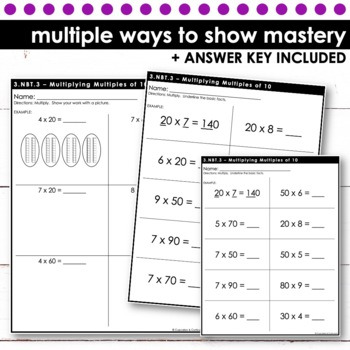Multiplying Multiples of 10 - Third Grade Print and Go