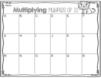 Multiplying Multiples of 10: Zoo Theme