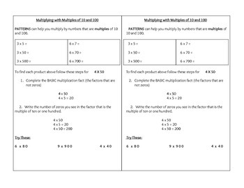 Multiplying Multiples of 10 and 100 Math Journal Notes
