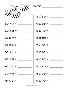 Multiplying Multiples of 10 common core worksheet by Math and Technology