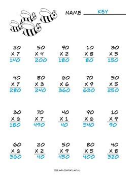 Multiplying Multiples of 10 common core worksheet