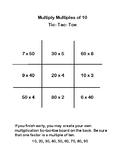 Multiplying Multiples of Ten Tic-Tac-Toe