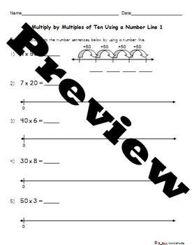 Multiplying Multiples of Ten Using Number Lines