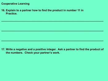 Multiplication of Integers Notes and Assignment on Smartboard