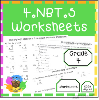 Multiplying Numbers - 4.NBT.5 Worksheets