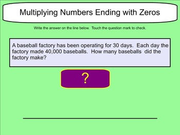 Multiplying Numbers Ending with Zeros- Word Problems - Smartboard