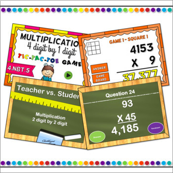 Multiplying Numbers Powerpoint Game Bundle