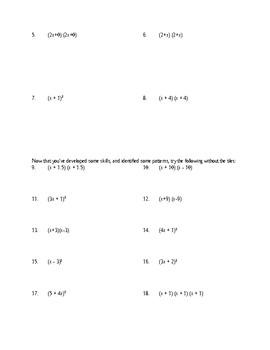 Multiplying Perfect-Square Binomials Using Algebra Tiles