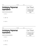 Multiplying Polynomial Expressions Exit Ticket