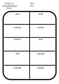 Multiplying Polynomial Practice