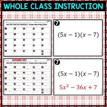 Multiplying Binomials Level 2 Card Match