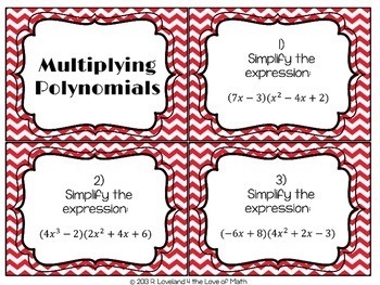 Multiplying Polynomials: 30 Task Cards