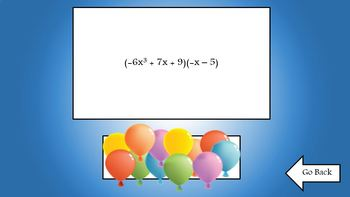 Multiplying Polynomials Balloon Pop Koosh Ball Game