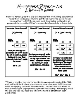 Multiplying Polynomials:  Binomial Times Binomial Notes Sheet and Worksheet