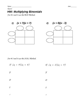 Multiplying Polynomials (Binomials- FOIL)
