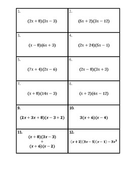Multiplying Polynomials (Binomials) Matching (Differentiated)