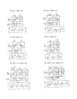 Multiplying Polynomials Box Method 1 KEY
