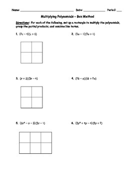 Multiplying Polynomials Box Method Teaching Resources Teachers Pay