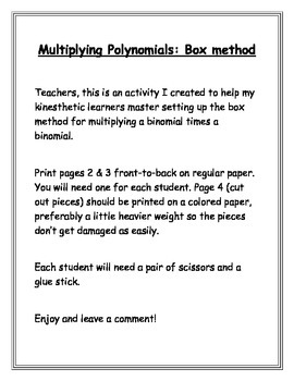 Multiplying Polynomials: Box Method Cut-and-Paste