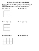 Multiplying Polynomials Box Method NOTES