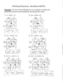 Multiplying Polynomials Box Method NOTES KEY