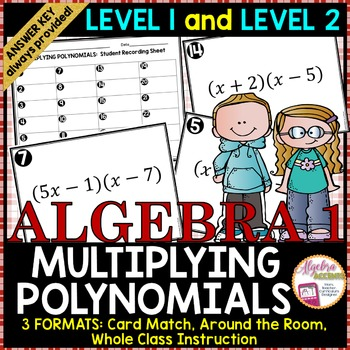 Multiplying Binomials Card Match LEVEL 1 and LEVEL 2 COMBO PACK