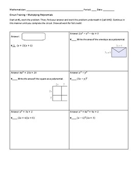Multiplying Polynomials Circuit Worksheet by Liuyi Liu | TpT