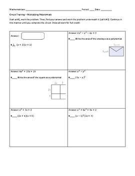 Multiplying Polynomials Circuit Worksheet By Liuyi Liu Tpt