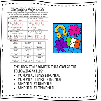 Multiplying Polynomials Color By Number Activity {St. Patrick's Day Themed}