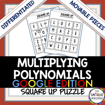 Multiplying Polynomials Digital Puzzle Activity for Distance Learning