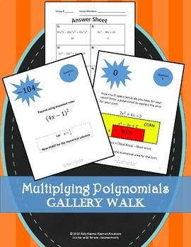 Multiplying Polynomials Gallery Walk (Exponent Rules)