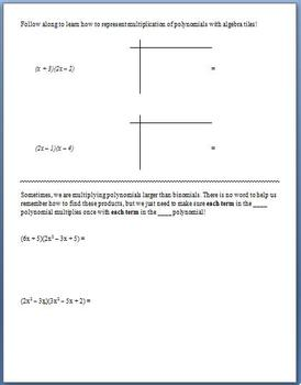 Multiplying Polynomials (Guided Notes & Algebra Tile Activity)