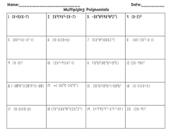 Multiplying Polynomials INB Flipbook Student WS and QR Code Task Cards