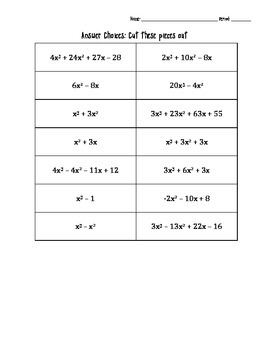 Multiplying Polynomials: Matching Activity