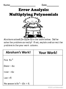 Multiplying Polynomials No Prep Lesson