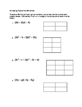 Multiplying Polynomials Notecard Activity and Group Work