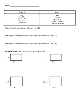 Multiplying Polynomials Notes, Practice, and Extension